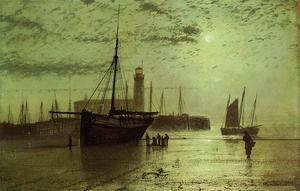 John Atkinson Grimshaw - The Lighthouse At Scarborough