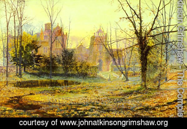 John Atkinson Grimshaw - Evening, Knostrop Old Hall