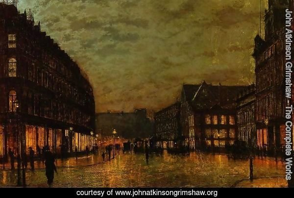 Boars Lane, Leeds by Lamplight