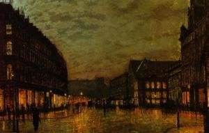 John Atkinson Grimshaw - Boars Lane, Leeds by Lamplight