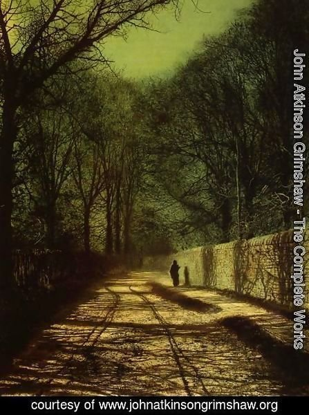 John Atkinson Grimshaw - Tree Shadows on the Park Wall, Roundhay Park, Leeds