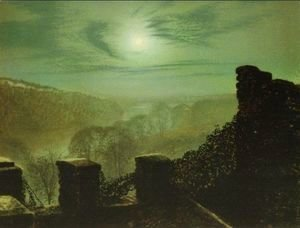 John Atkinson Grimshaw - Full Moon behind Cirrus Cloud from the Roundhay Park Castle Battlements