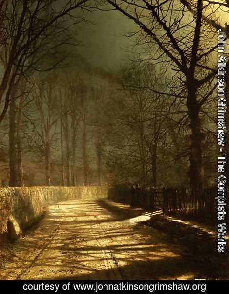 John Atkinson Grimshaw - A Moonlit Lane with two lovers by a gate