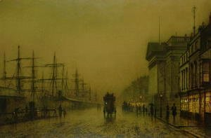 John Atkinson Grimshaw - Liverpool Docks Customs House and Salthouse Docks Liverpool