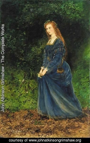 John Atkinson Grimshaw - Portrait of the artist's wife, Theodosia, as Ophelia