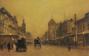 John Atkinson Grimshaw - Swanston Street, Melbourne, between the lights