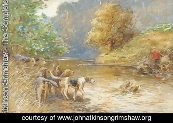 Mr W. Thompson's otter hounds on the Esk