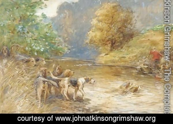 John Atkinson Grimshaw - Mr W. Thompson's otter hounds on the Esk