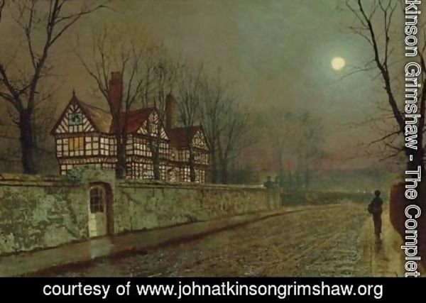 John Atkinson Grimshaw - A Cheshire Road By Moonlight