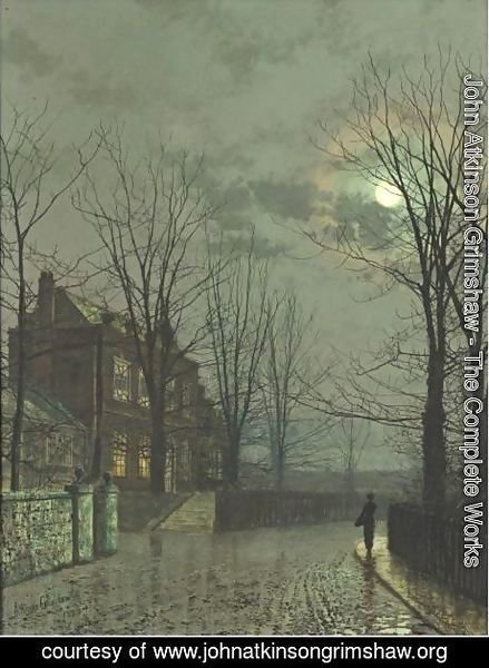 John Atkinson Grimshaw - A Street By Moonlight