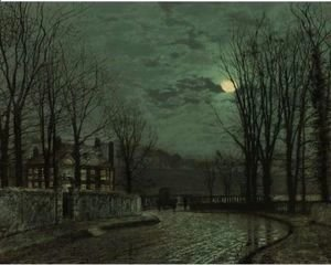 John Atkinson Grimshaw - A Wooded Lane By Moonlight