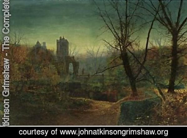 John Atkinson Grimshaw - Knostrop Old Hall At Dusk