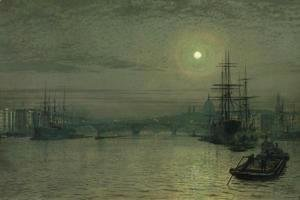 John Atkinson Grimshaw - London Bridge -- Night