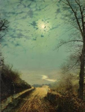 John Atkinson Grimshaw - A Wet Road By Moonlight, Wharfedale