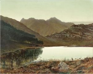 John Atkinson Grimshaw - Blea Tarn At First Light, Langdale Pikes In The Distance
