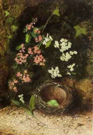 John Atkinson Grimshaw - Still Life Of Birds Nest With Primulas And Blossom