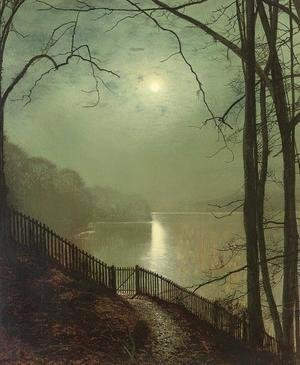 John Atkinson Grimshaw - Moonlight on the Lake, Roundhay Park, Leeds
