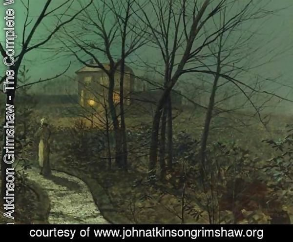 John Atkinson Grimshaw - Woman on a path by a cottage