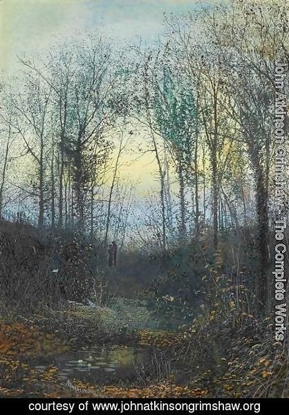 John Atkinson Grimshaw - Wooded valley, probably Bolton Woods Lovers in a woodland clearing a pair