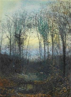 Wooded valley, probably Bolton Woods Lovers in a woodland clearing a pair