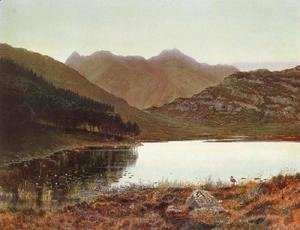 John Atkinson Grimshaw - Blea tarn at first light, Langdale pikes in the distance 2