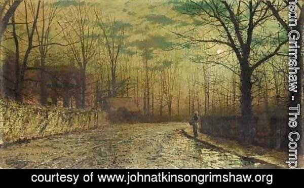 John Atkinson Grimshaw - Figure on a moonlit lane